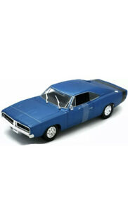 1969 DODGE CHARGER R/T METALLIC BLUE 1:18 DIECAST MODEL CAR BY MAISTO 31387