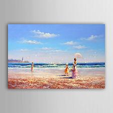 Strand Mädchen Himmel Landschaft Malerei Ölgemälde