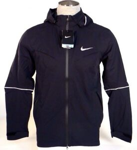 683390277884 Image is loading Nike-Rain-Runner-Black-Waterproof-Hooded-Running-Jacket-