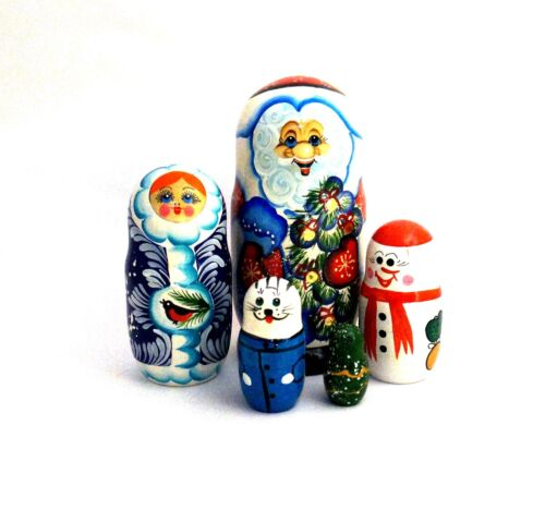 "5 pc Russian Nesting Doll Matrioshka Santa wFriends 7.5"" Tall"