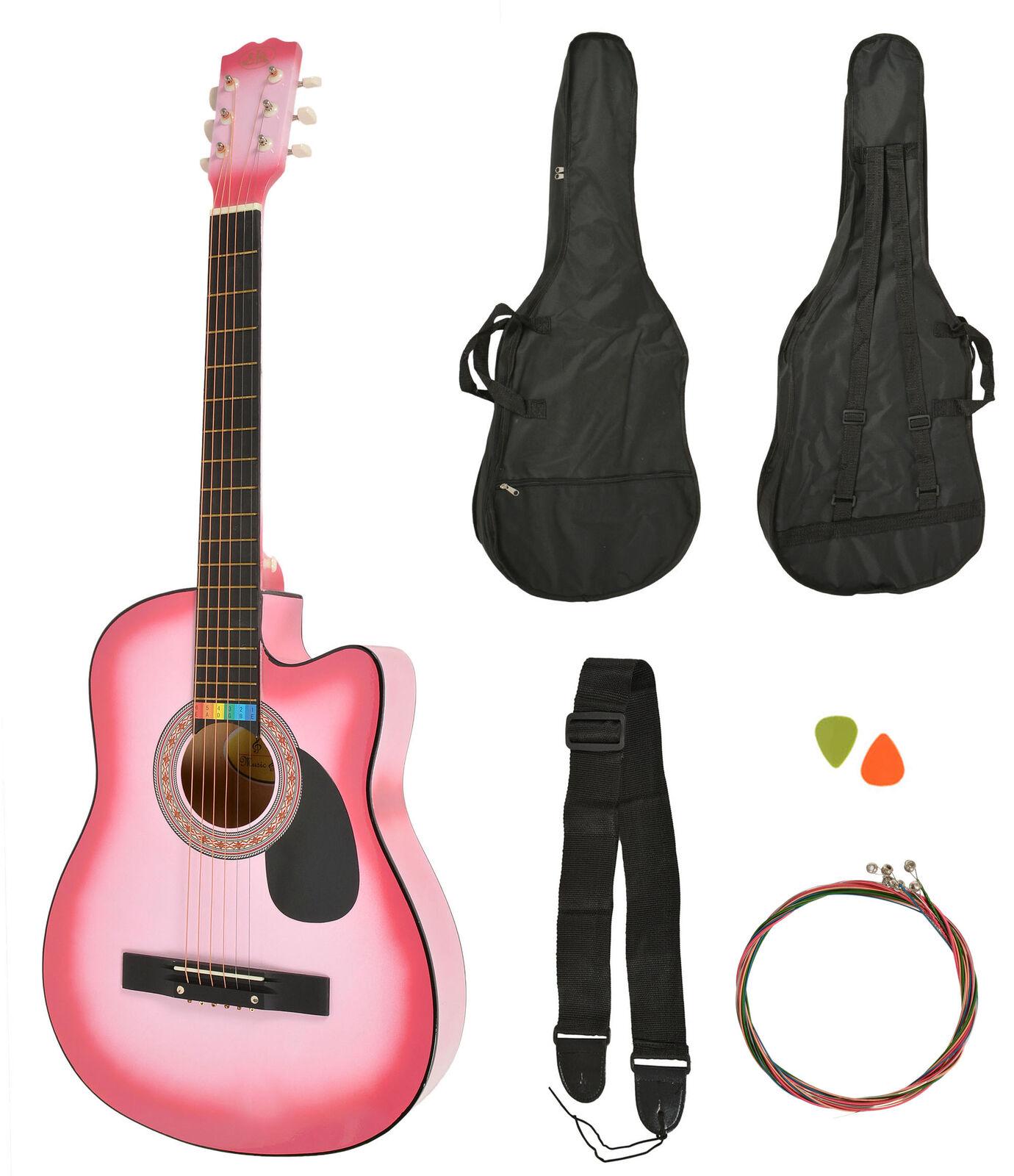 Ts-ideen Western - Guitarra acústica, tamaño regular (4 4) con set de accesorios