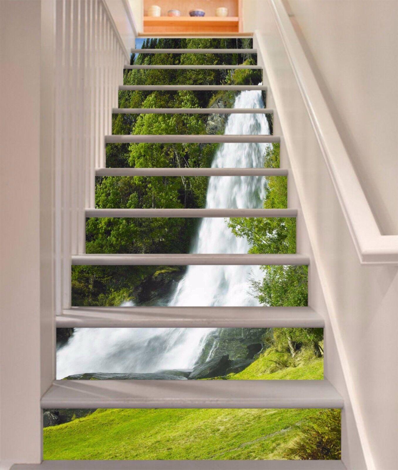 3D Lawn Waterfall 72Stair Risers Decoration Photo Mural Vinyl Decal Wallpaper AU