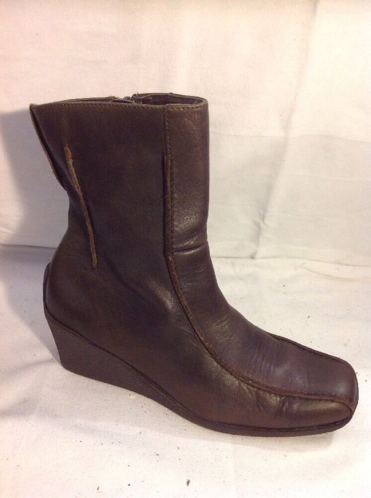 New Look Brown Ankle Leather Boots Size 4