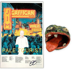 Jim-Gaffigan-Signed-Head-Ashtray-and-Signed-034-Pale-Tourist-034-Poster