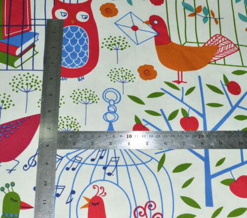 LL07t Red Blue Bird Owl on Beige Cotton Canvas 3D Box Seat Cushion Cover Custom