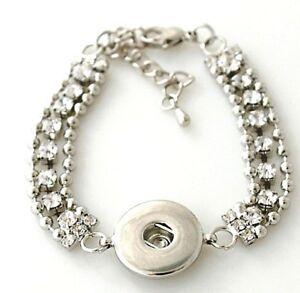 Chain-Rhinestone-18-20mm-Snap-Charm-Bracelet-For-Ginger-Snaps-Magnolia-Vine