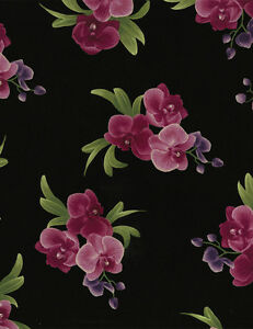 Timeless-Treasures-Spaced-Orchid-Bouquets-Black-100-cotton-fabric-by-the-yard