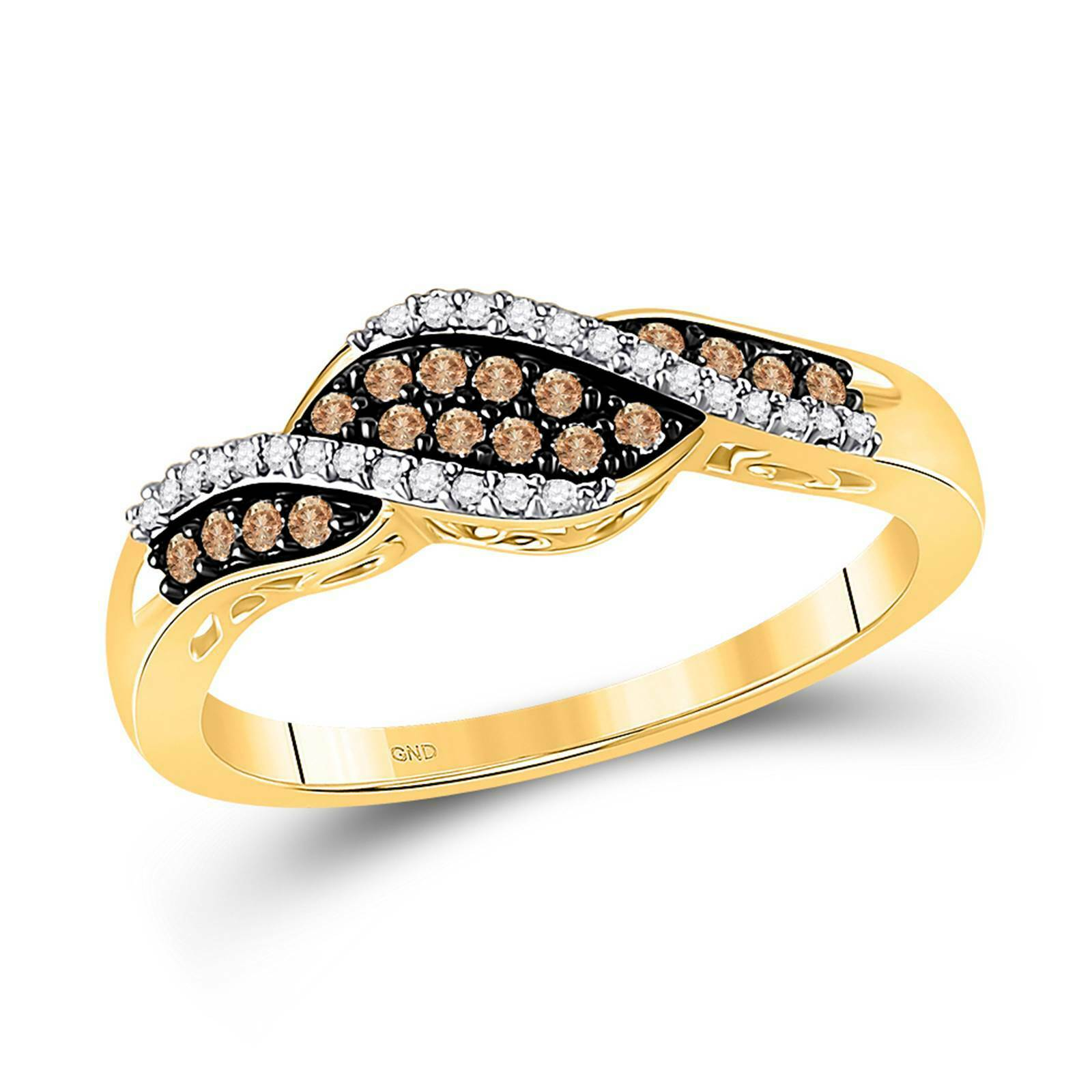 10k Yellow Gold Ladies Champagne Brown Diamond Ring Band For Sale Online
