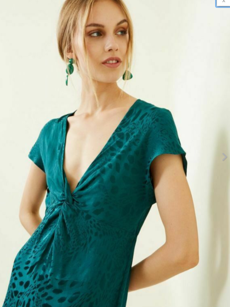 Bnwt New Look Vert Jacquard Dressy Plongeant Nœud Combinaison Uk 8 £ 35