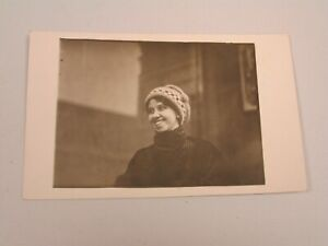 J1122-Postcard-RPPC-woman-smiling-rare-with-winter-hat-on