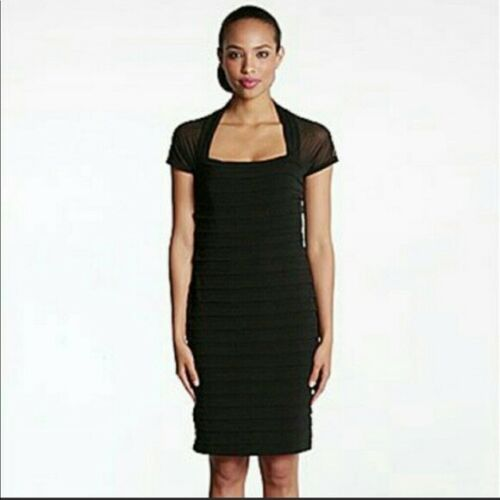 Maggy London Illusion Back Pleated  Jersey Dress Size 4