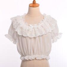 1pc Chiffon Lace Bottoming Top Lolita Shirt Girls Puff Sleeve Frilly Blouse