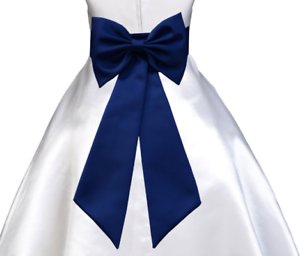 Navy blue tie bow sash for wedding flower girl dress sz s m l 2 3 4 image is loading navy blue tie bow sash for wedding flower mightylinksfo