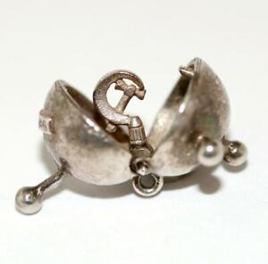 Rare-Opening-Sputnik-Sterling-Silver-Vintage-Charm-Different-w-Hammer-amp-Sickle