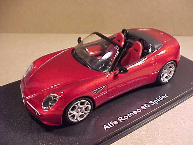 M4  43 Diecast 2008-2010 Alfa Romeo 8C Open Top Spider, Candy Apple Red