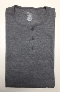 Men-039-s-Long-Sleeve-3-Button-Henley-T-Shirt-Grey-Made-in-USA-S-M-L-XL-XXL-NWT