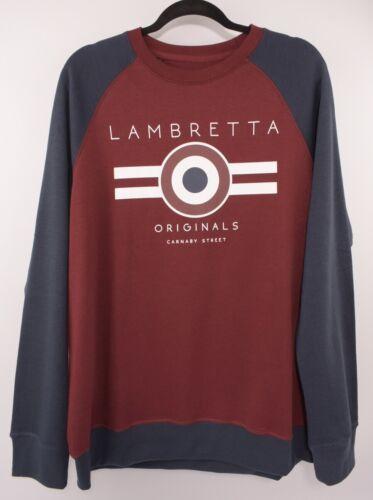 Burgundy//Navy LAMBRETTA Men/'s Raglan Crew Neck Sweatshirt size XL