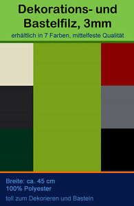 Filz Dekofilz Bastelfilz 7 klassische Farben Dicke: 3mm Basteln Dekoration Hobby