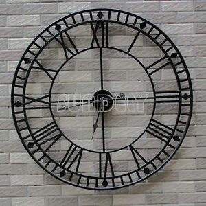 Details About 80cm Stunning Extra Large Black Metal Wall Clock Black Skeleton Wall Clock