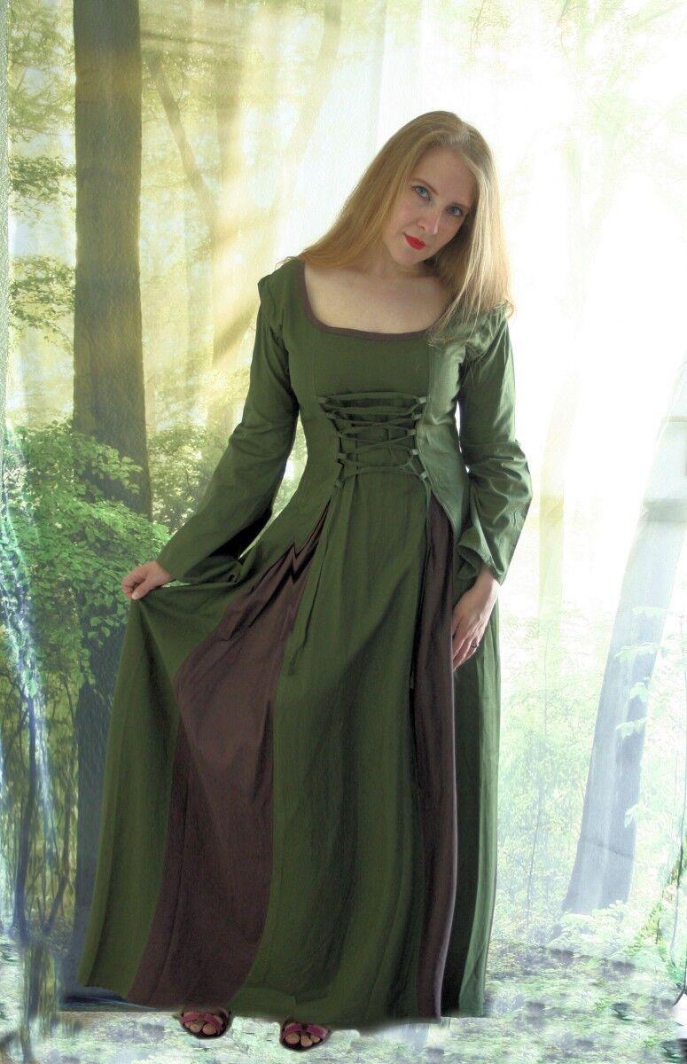 de style style style médiéval SERVANTE ROBE avec laçage Femmeche amovible 36 38 40 42 OLIVE 87757b