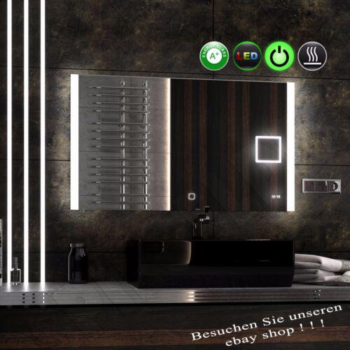 Nouveau Design OPTILED 80*60 ledspiegel miroir de salle Cosmétique Miroir Horloge HEIZMATTE