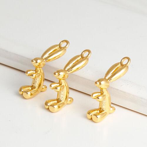 3 Globo De Cobre peculiar inusual tono oro plateado en forma de conejo encanto Colgantes