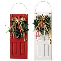 Raz 6.5 Red Or White Wooden Door Christmas Ornament 2702838