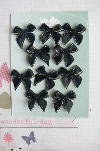 Satin-Bows-2-5cm-10-BLACK-with-GOLD-lines-on-both-Edges-Green-Tara-B