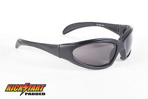 8fa813f699 Image is loading Kick-Start-Eyewear-Chopper-Sunglasses-Smoke-Lens-Padded-