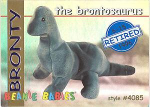 TY Beanie Babies BBOC Card - Series 1 Retired (BLUE) - BRONTY the Brontosaurus