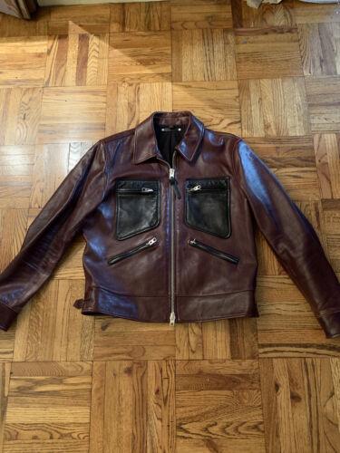 "Coach mens leather jacket ""70s"" Color-block Large"