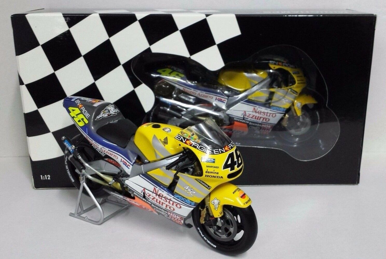 MINICHAMPS VALENTINO ROSSI 1 12 MODELLINO MOTO HONDA NSR 500 NASTRO AZZURRO 2001