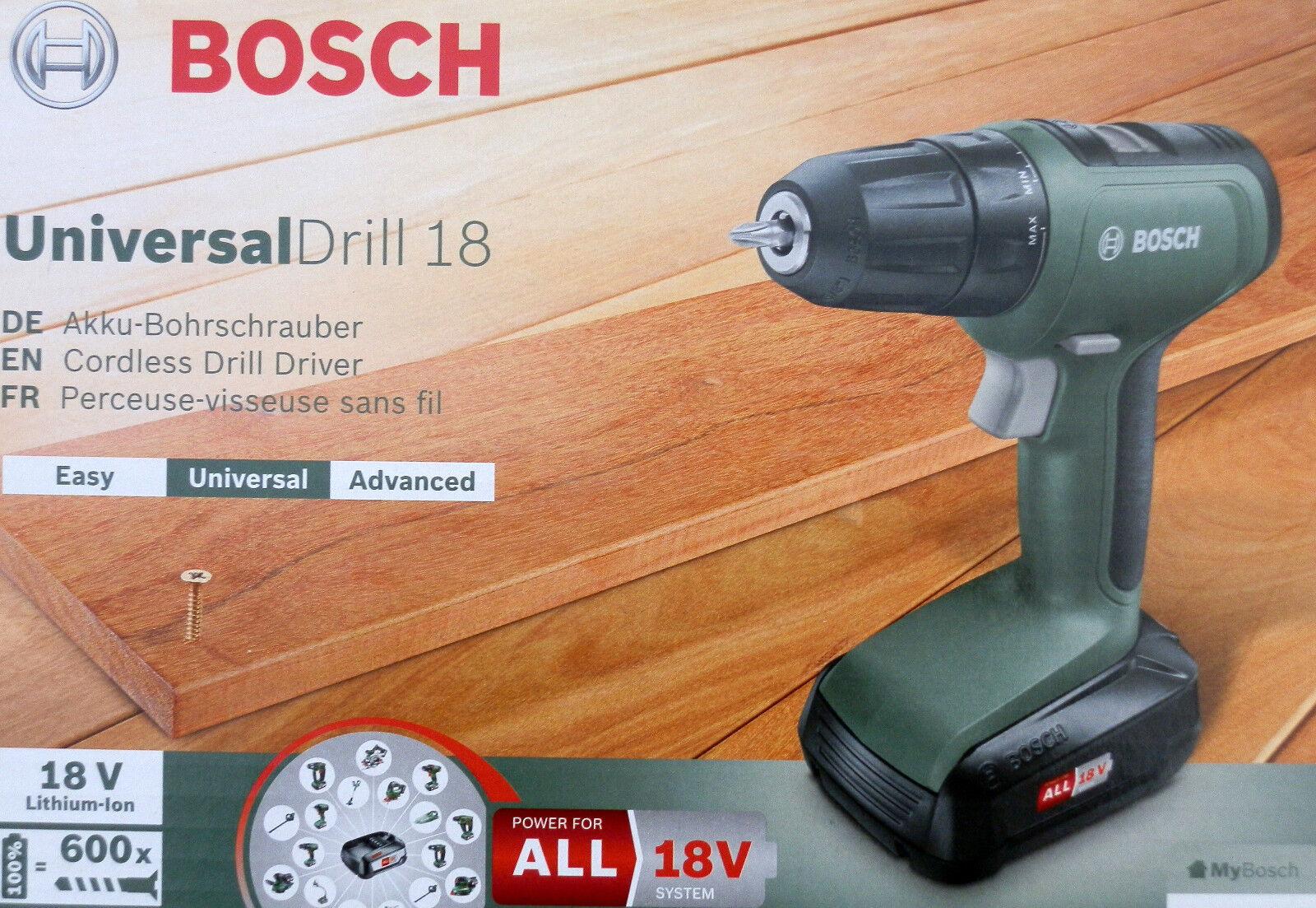 Bosch Home and Garden UniversalDrill 18 Akku-Bohrschrauber 18V 1.5Ah Li-Ion inkl