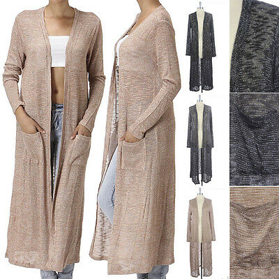 Long Open Front Mesh Knit Draped Cardigan with Side Pockets Long Sleeve S M L