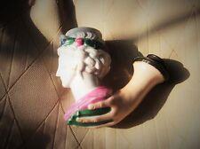 RARE ANTIQUE PORCELAIN HANDPAINTED PIPE BOWL ROMAN HEAD IN HAND METAL HOLDER