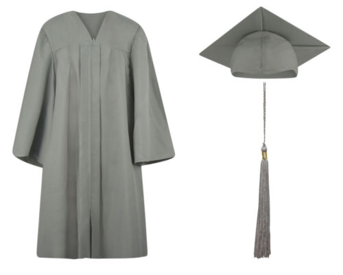 13 sizes available Silver Matte Graduation Cap Gown and Tassel