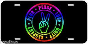 Details about PLUR Peace Love Unity Respect Aluminum Novelty Car License  Plate
