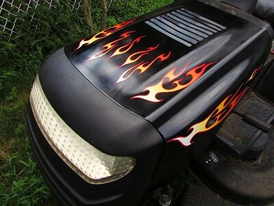 Header decals  2pc set Funny Lawn Mower Choose from 3 flame Colors for Deere