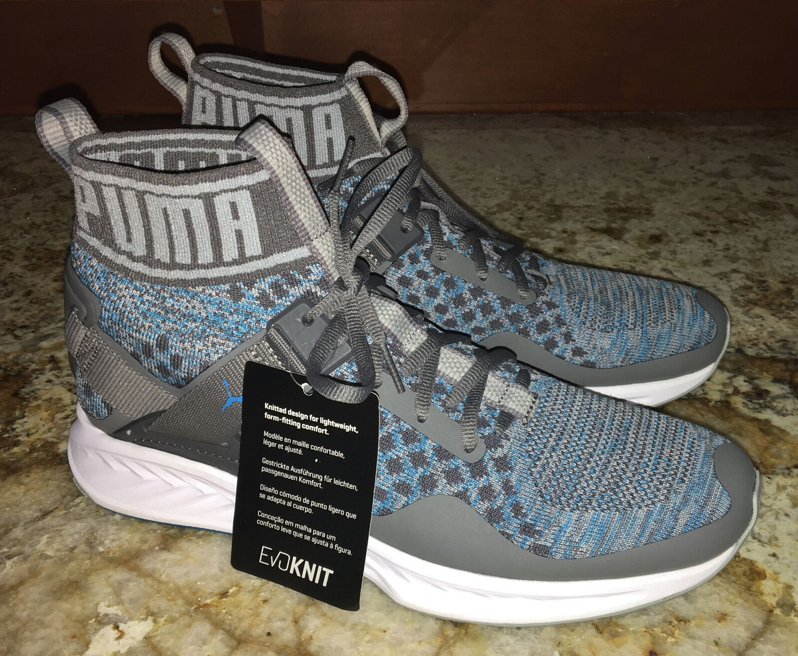 PUMA Ignite evoKnit Lt Dk Grey bluee Training shoes Sneakers Mens Sz 9.5 10