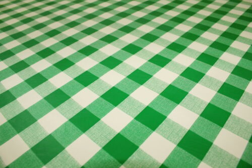 PVC Large Green Gingham Squares Oilcloth Vinyl Tablecloth Wipe Easy 140CM Width