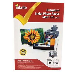 Inkrite-7x5-190gsm-UNA-CARA-MATE-Mate-Papel-fotografico-50-100-200-laminas