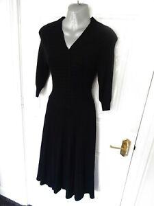 ❤ HOSS HOMELESS Size 8 (S) Black Stretchy Jumper Dress Fit Flare VGC