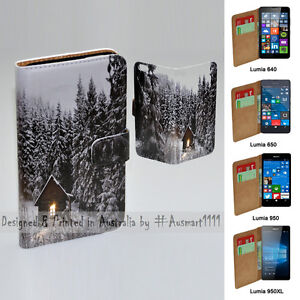 For Nokia Series - Snow Forest Print Theme Wallet Mobile Phone Case Cover