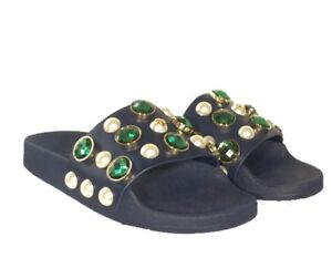 4e036be4722875 NEW Tory Burch Vail Jeweled Flat Slide Sandal size 6 Blue Green ...