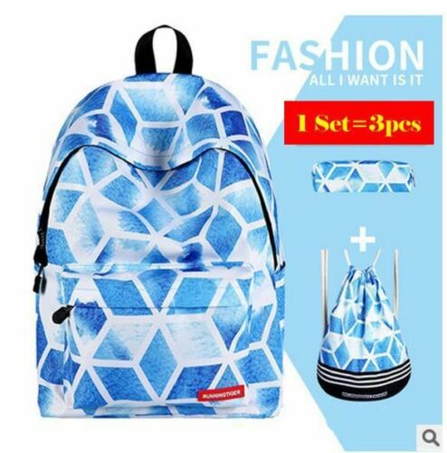 3pcs Sets School Bags For Teenage Girls Printing Backpack Women Shoulder Drawstr
