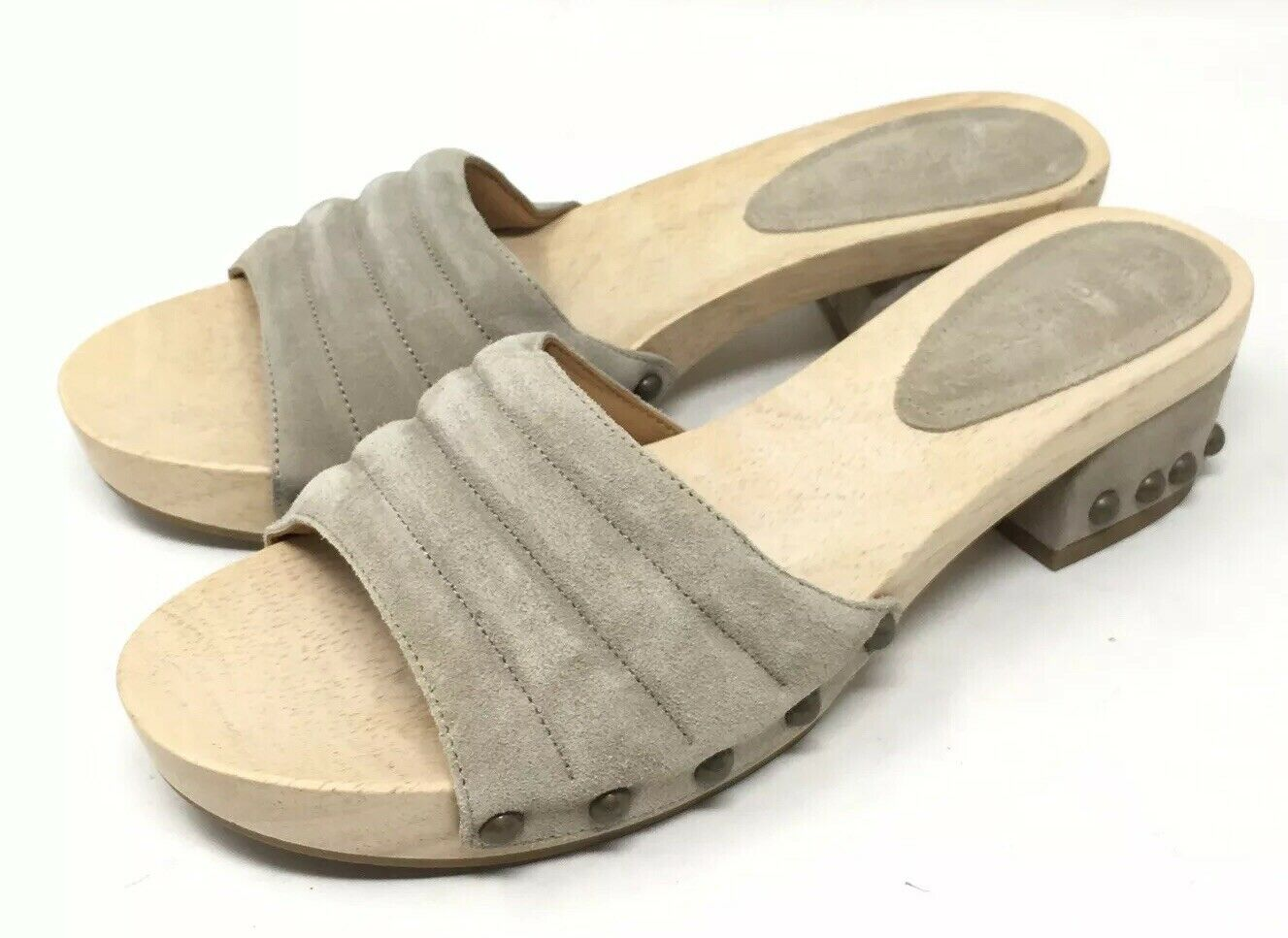 Sigerson Morrison Sandals damen Wood Studded Heels Clogs SlipOn Slides 9.5 NEW
