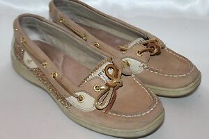 Details About Sperry Top Sider Angelfish Gold Sparkle Glitter Tan Leather Boat Shoes Sz 7