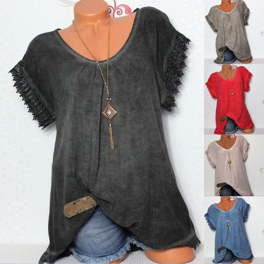 Boho Womens Summer Plain T-Shirt Short Sleeve Gypsy Beach Te