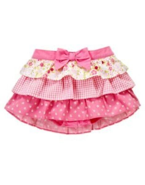GYMBOREE MINI BLOOMS GINGHAM FLOWER TIERED SKIRT BLOOMER 0 3 6 12 18 24 NWT