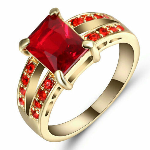 free shipping Size 6 Ruby Wedding Ring10KT Yellow Gold Filled Engagement Jewelry